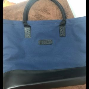 90s esprit large blue zippered closure tote